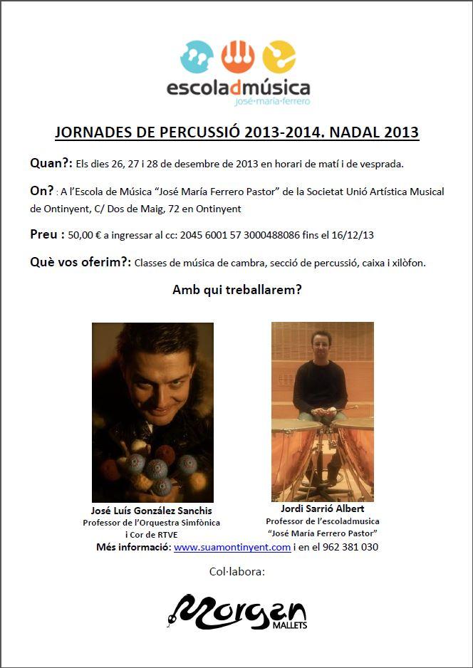 Cartell de les Jornades de Percussio Nadal 2013